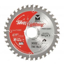 """Silver Lightning Wood Cutting Saw Blades 4 3/8"""" x 20mm x 36T - 714381"""